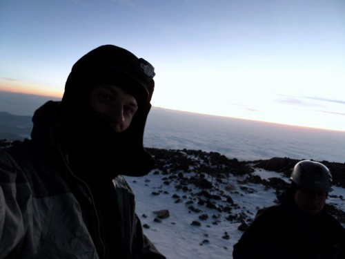 Near-dawn as we reach the glacier and make-ready for the summit on Orizaba